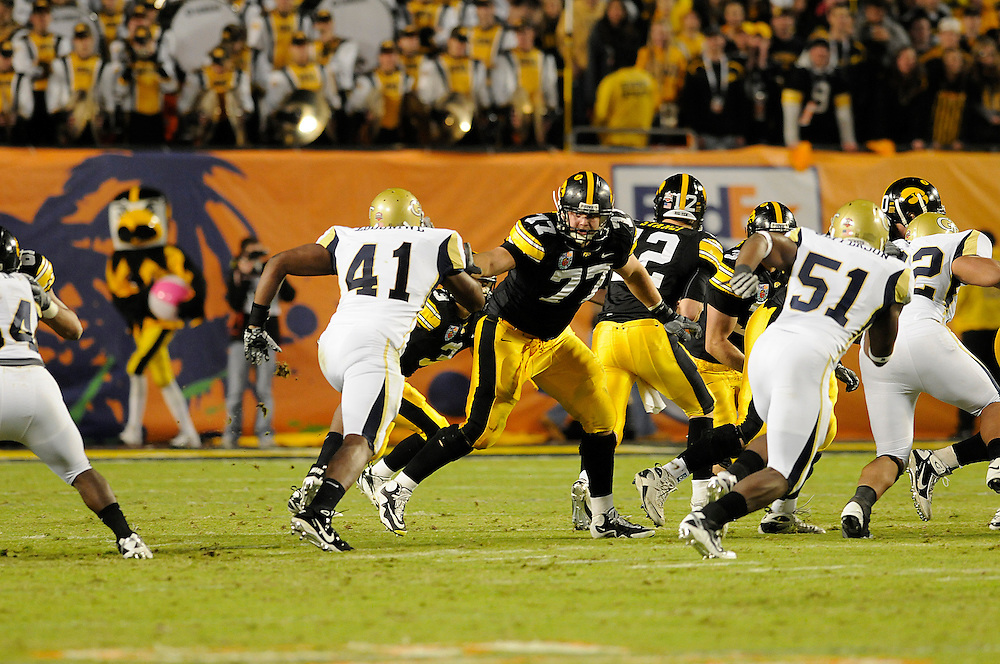 January 5, 2010: Riley Reiff of the Iowa Hawkeyes in action during the NCAA football game between the Georgia Tech Yellow Jackets and the Iowa Hawkeyes in the FedEx Orange Bowl at LandShark Stadium in Miami Gardens, Florida. The Hawkeyes defeated the Yellow Jackets 24-14.