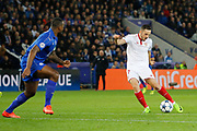 Sevilla midfielder Pablo Sarabia (17) shoots during the Champions League round of 16, game 2 match between Leicester City and Sevilla at the King Power Stadium, Leicester, England on 14 March 2017. Photo by Richard Holmes.