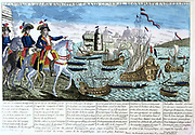 France, Directoire (1799-1804).  The Travels and Exploits of General Bonaparte in Various Countries. Napoleon Bonaparte (1760-1821). French popular coloured engraving.