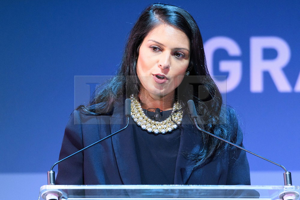 """© Licensed to London News Pictures. 26/10/2016. PRITI PATEL MP, Secretary of State for International Development speaks at the Joint Session Grand Challenges and Keystone Symposia """"Translational Vaccinology in Global Health"""" conferences, October 26, 2016, London, UK.""""<br /> <br /> London, UK. Photo credit: Ray Tang/LNP"""
