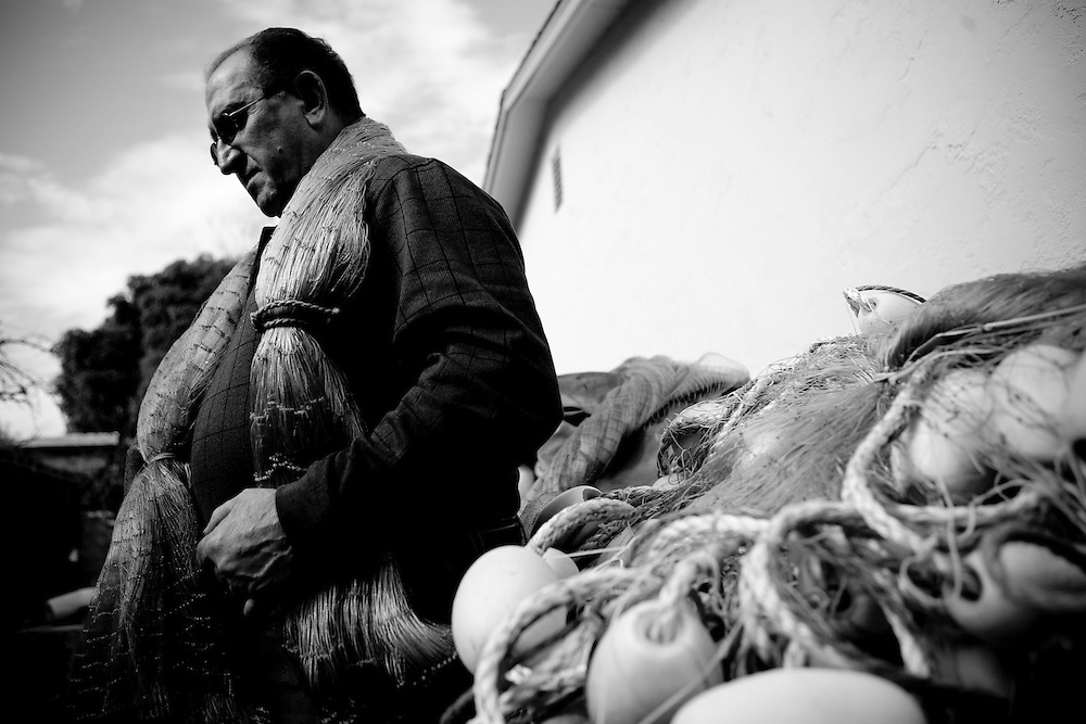 Retired fisherman Joe Bonanno poses for a portrait at his Monterey,  CA home on Monday, January 29, 2007.