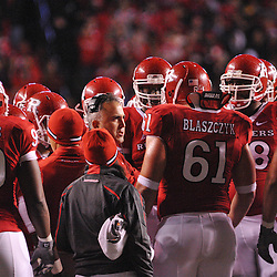 Oct 16, 2009; Piscataway, NJ, USA; Rutgers offensive line coach Kyle Flood coaches players during first half NCAA football action between Rutgers and Pittsburgh at Rutgers Stadium