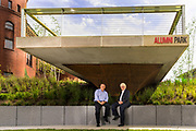 Alumni Park landscape architect Bill Patek and Architect Del Wilson. (Photo © Andy Manis)
