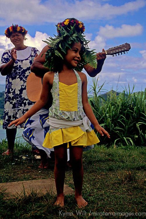 French Polynesia, Tahiti, Taha'a. Young Polynesian dancer.