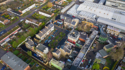 VIDEO AVAILABLE https://we.tl/t-Azi6ue81on © Licensed to London News Pictures. 15/01/2020. Elstree, UK. An aerial view of the current EastEnders Set at the BBC Elstree studios in Hertfordshire as construction continues nearby on the new high definition set. Photo credit: LNP