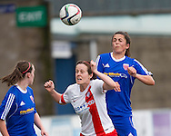 Farmington's Megan McCarthy wins an aerial duel with Spartans' Laura Gavin - Forfar Farmington v Spartans in the Scottish Womens Premier League at Station Park, Forfar. Photo: David Young<br /> <br />  - &copy; David Young - www.davidyoungphoto.co.uk - email: davidyoungphoto@gmail.com