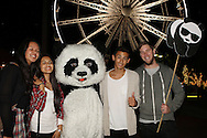 Fans enjoy meeting the WWF Panda during the WWF - Earth Hour Event held at the amphitheatre at the Victoria and Alfred Waterfront in Cape Town, South Africa on the 29th March 2014<br /> <br /> <br /> Photo by: RON GAUNT