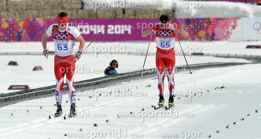 14.02.2014, Laura Cross-country Ski &amp; Biathlon Center, Krasnaya Polyana, RUS, Sochi, 2014, Herren Langlauf 15km, Classic, im Bild MACIEJ STAREGA SEBASTIAN GAZUREK // MACIEJ STAREGA SEBASTIAN GAZUREK during Mens Cross Country 15km Classic Race of the Olympic Winter Games Sochi 2014 at the Laura Cross-country Ski &amp; Biathlon Center in Krasnaya Polyana, Russia on 2014/02/14. EXPA Pictures &copy; 2014, PhotoCredit: EXPA/ Newspix/ TOMASZ JAGODZINSKI<br /> <br /> *****ATTENTION - for AUT, SLO, CRO, SRB, BIH, MAZ, TUR, SUI, SWE only*****