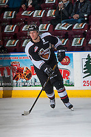 KELOWNA, CANADA - FEBRUARY 10: Jordan Borstmayer #11 of the Vancouver Giants warms up with the puck against the Kelowna Rockets on February 10, 2017 at Prospera Place in Kelowna, British Columbia, Canada.  (Photo by Marissa Baecker/Shoot the Breeze)  *** Local Caption ***