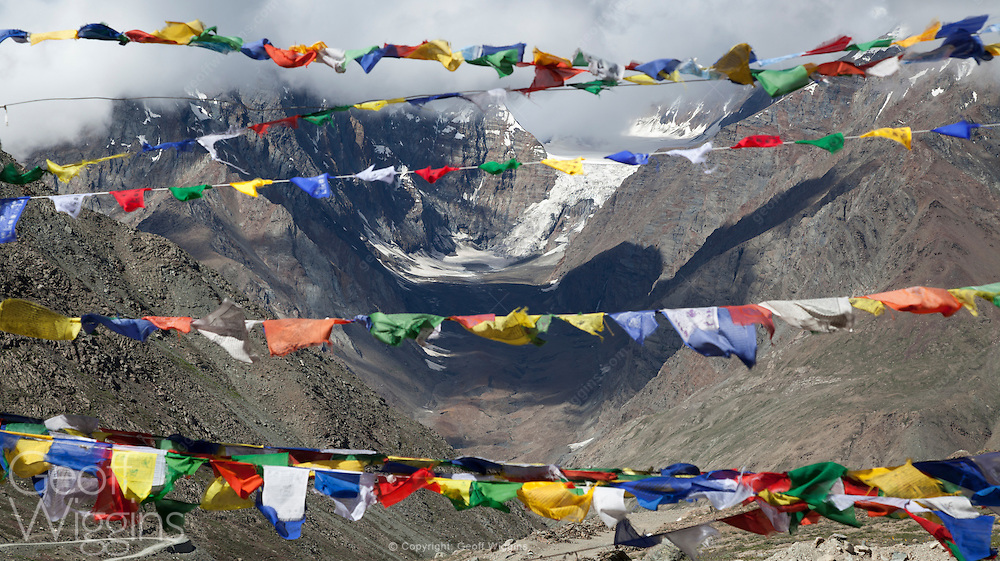 Buddhist prayer flags at Kunzum Pass in the Himalayan region of Himachal Pradesh, India