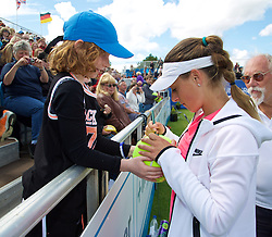 LIVERPOOL, ENGLAND - Sunday, June 21, 2015: Ana Bodgan (ROM) signs autographs during Day 4 of the Liverpool Hope University International Tennis Tournament at Liverpool Cricket Club. (Pic by David Rawcliffe/Propaganda)