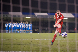 BRISTOL, ENGLAND - Thursday, January 15, 2009: Liverpool's captain Joe Kennedy fires in a penalty during the shoot-out victory over Bristol Rovers during the FA Youth Cup match at the Memorial Stadium. (Mandatory credit: David Rawcliffe/Propaganda)