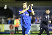 AFC Wimbledon defender Jon Meades (3) clapping during the The FA Cup match between AFC Wimbledon and Lincoln City at the Cherry Red Records Stadium, Kingston, England on 4 November 2017. Photo by Matthew Redman.