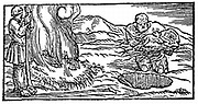 Charcoal burning: Pit being filled with wood (right) covered with earth and bracken, then slowly burned to produce charcoal. Inferior to charcoal burned in heaps. From Biringuccio 'De la Pirotechnia' Venice 1540. Woodcut.