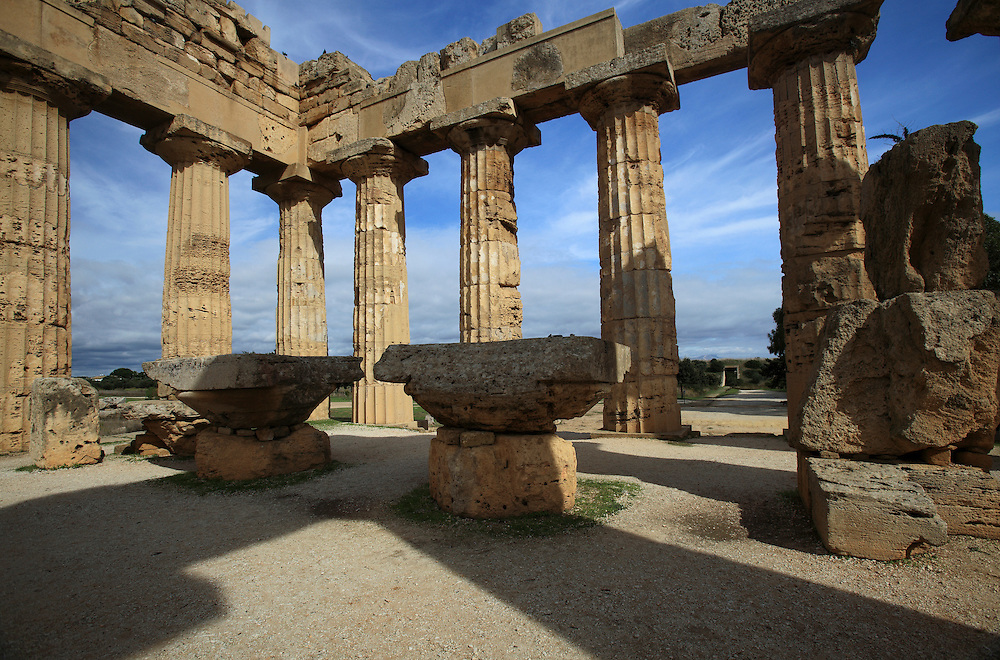 The Temple of Hera, Selinunte, Sicily. Selinunte is an ancient Greek archaeological site on the south coast of Sicily. The archaeological site contains five temples centered on an acropolis.
