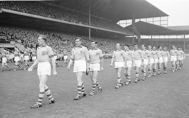 The Roscommon team walking onto the pitch before the All Ireland Senior Gaelic Football Championship Final Kerry v Roscommon in Croke Park on the 23rd September 1962. Kerry 1-12 Roscommon 1-6.