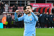 Bernardo Silva (20) of Manchester City celebrates at full time after a 1-0 win over Bournemouth during the Premier League match between Bournemouth and Manchester City at the Vitality Stadium, Bournemouth, England on 2 March 2019.