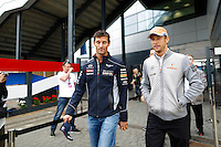 MOTORSPORT - F1 2013 - BRITISH GRAND PRIX - GRAND PRIX D'ANGLETERRE - SILVERSTONE (GBR) - 28 TO 30/06/2013 - PHOTO : FREDERIC LE FLOC'H / DPPI - WEBBER MARK (AUS) - RED BULL RENAULT RB9 - AMBIANCE PORTRAIT<br /> BUTTON JENSON (GBR) - MCLAREN MERCEDES MP4-28 - AMBIANCE PORTRAIT