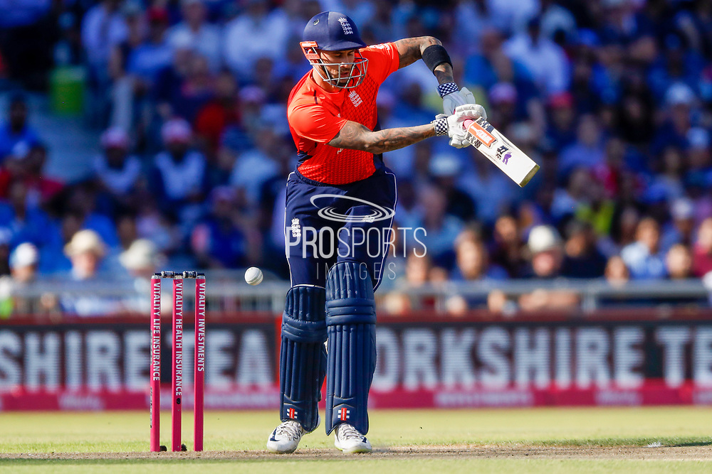 England T20 batsman Alex Hales is beaten by the delivery  during the International T20 match between England and India at Old Trafford, Manchester, England on 3 July 2018. Picture by Simon Davies.