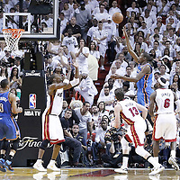 21 June 2012: Oklahoma City Thunder small forward Kevin Durant (35) goes for the floater over Miami Heat power forward Chris Bosh (1) during the Miami Heat 121-106 victory over the Oklahoma City Thunder, in Game 5 of the 2012 NBA Finals, at the AmericanAirlinesArena, Miami, Florida, USA. The Miami Heat wins the series 4-1.
