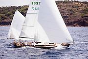 Golden Eye sailing in the Antigua Classic Yacht Regatta, Old Road Race.