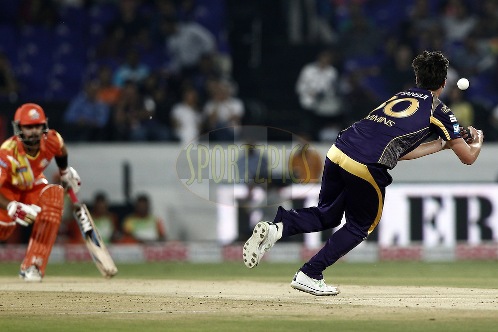 Patrick Cummins of the Kolkata Knight Riders  during match 7 of the Oppo Champions League Twenty20 between the Kolkata Knight Riders and the Lahore Lions held at the Rajiv Gandhi Cricket Stadium, Hyderabad, India on the 21st September 2014<br /> <br /> Photo by:  Deepak Malik / Sportzpics/ CLT20<br /> <br /> <br /> Image use is subject to the terms and conditions as laid out by the BCCI/ CLT20.  The terms and conditions can be downloaded here:<br /> <br /> http://sportzpics.photoshelter.com/gallery/CLT20-Image-Terms-and-Conditions-2014/G0000IfNJn535VPU/C0000QhhKadWcjYs