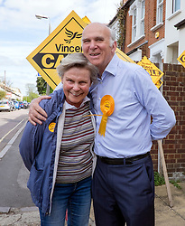 © Licensed to London News Pictures. 04/05/2015. South West London, UK. VINCE CABLE and his wife Rachel Smith. Deputy Prime Minister Nick Clegg and Business Secretary Vince Cable at Vince Cable's Constituency Office in Twickenham. Nick Clegg, Deputy Prime Minister and Leader of the Liberal Democrats campaigns in the UK General Election in South West London today 4th May 2015. Photo credit : Stephen Simpson/LNP