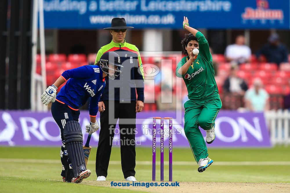 Sania Khan of Pakistan in delivery stride (right) during the Royal London One Day Series match at Fischer County Ground, Leicester<br /> Picture by Andy Kearns/Focus Images Ltd 0781 864 4264<br /> 21/06/2016