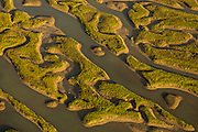 Aerial view of marsh islands Mount Pleasant, SC.