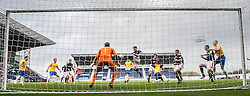 Falkirk's Luke Leahy clears.<br /> Falkirk 6 v 0 Cowdenbeath, Scottish Championship game played at The Falkirk Stadium, 25/10/2014.
