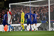 Chelsea FC forward Pedro (11) and Chelsea FC midfielder Ross Barkley (8) celebrate after a bizarre own goal during the Europa League quarter-final, leg 2 of 2 match between Chelsea and Slavia Prague at Stamford Bridge, London, England on 18 April 2019.