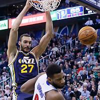 25 January 2016: Utah Jazz center Rudy Gobert (27) dunks over Detroit Pistons center Andre Drummond (0) during the Detroit Pistons 95-92 victory over the Utah Jazz, at the Vivint Smart Home Arena, Salt Lake City, Utah, USA.