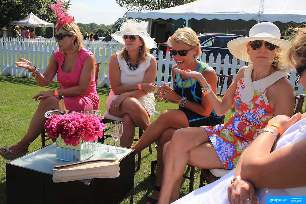 A group of ladies enjoy champagne during the Airstream vs. Cinque Terre Polo match at the Greenwich Polo Club, Greenwich, Connecticut, USA. 23rd June 2013. Photo Tim Clayton