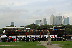"""© Licensed to London News Pictures. 18/10/2013. The world's oldest remaining clipper ship City of Adelaide is in Greenwich ahead of a renaming ceremony with the Duke of Edinburgh. She will then be moved to Australia despite attempts by heritage campaigners to keep her in the UK. Her new home in an Australian backwater has been controversial with one Australian MP saying this week she will be """"out of sight, out of mind"""". Her visit to Greenwich sees her briefly reunited with the famous clipper Cutty Sark, loosely described as a """"sister ship"""". Credit : Rob Powell/LNP"""