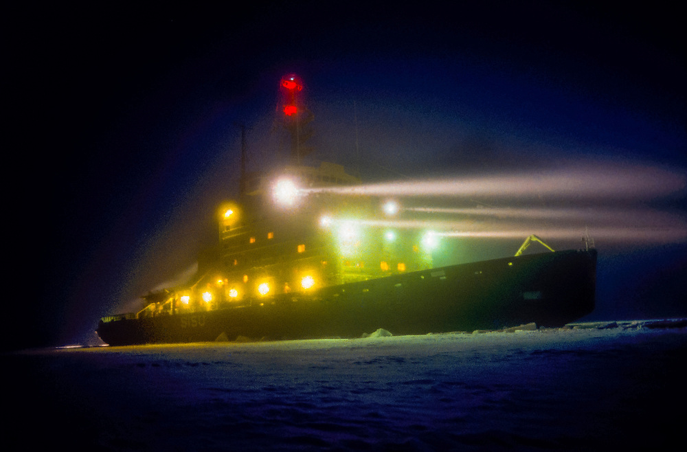 Finnish icebreaker Sisu working in the Gulf of Bothnia, Northern Finland