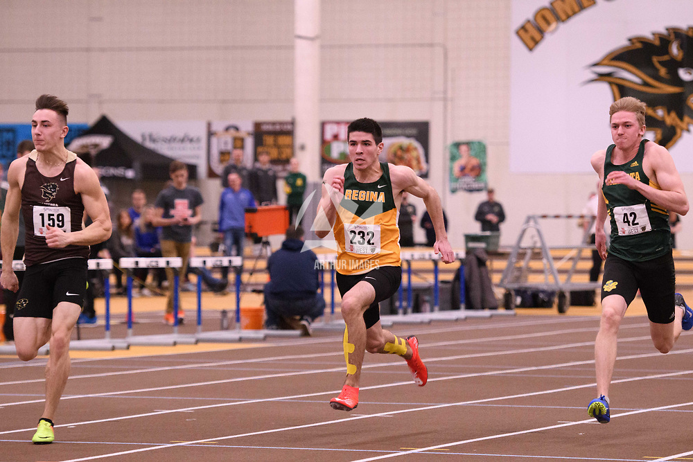 Shane Patmore in action during the 2018 Canada West Track & Field Championship on February  24 at James Daly Fieldhouse. Credit: Arthur Ward/Arthur Images