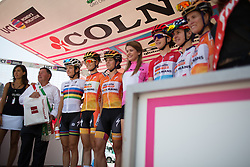 The Boels-Dolmans Cycling Team stand on the podium before the Giro Rosa 2016 - Stage 1. A 104 km road race from Gaiarine to San Fior, Italy on July 2nd 2016.