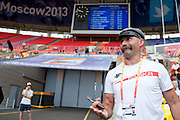 Michal Krukowski trainer coach and father of Marcin Krukowski competes in men's javelin throw qualification during the 14th IAAF World Athletics Championships at the Luzhniki stadium in Moscow on August 15, 2013.<br /> <br /> Russian Federation, Moscow, August 15, 2013<br /> <br /> Picture also available in RAW (NEF) or TIFF format on special request.<br /> <br /> For editorial use only. Any commercial or promotional use requires permission.<br /> <br /> Mandatory credit:<br /> Photo by &copy; Adam Nurkiewicz / Mediasport