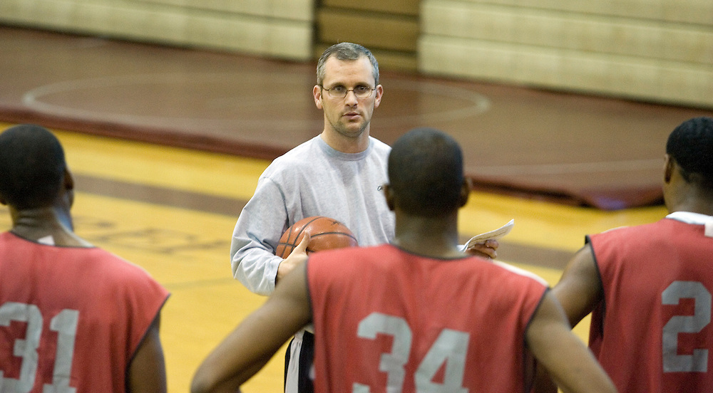 Coach Dan Hurley talks to his team at St. Benedict Prep Basketball practice in Newark, New Jersey, January 18, 2007 (Andrew Gombert for The New York Times)