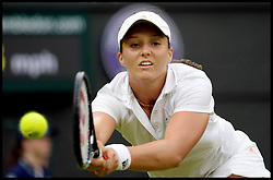 Wimbledon Tennis Championships.<br /> Laura Robson of Great Britain against Mariana Duque Marino from Colombia during the singles second round match  on Centre Court on day 5 of The All England Lawn Tennis Club, Wimbledon, United Kingdom<br /> Friday, 28th June 2013<br /> Picture by Andrew Parsons / i-Images