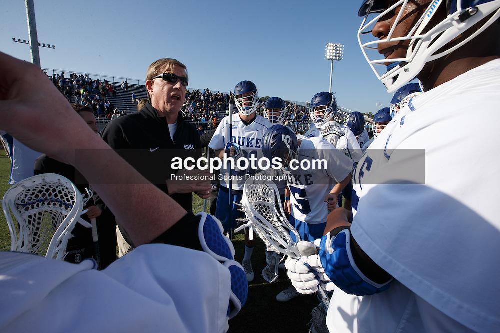 DURHAM, NC - FEBRUARY 08: Head coach John Danowski of the Duke Blue Devils plays against the Jacksonville Dolphins on February 08, 2014 at Koskinen Stadium in Durham, North Carolina. Duke won 16-10.