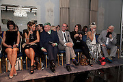FRONT ROW; MAINLY JUDGES; KRISTINA BLAHNIK; YASMIN LE BON; STEPHEN JONES; GIANLUCA LONGO; ELIZABETH SALTZMAN; DAPHNE GUINNESS; MANOLO BLAHNIK, The Dorchester Collection fashion prize.  Dorchester Hotel. London. 19 October 2010. ends at 8 p.m. competition. rsvp's to Jackie-DO NOT ARCHIVE-© Copyright Photograph by Dafydd Jones. 248 Clapham Rd. London SW9 0PZ. Tel 0207 820 0771. www.dafjones.com.