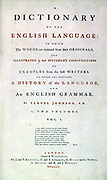 Samuel Jackson Johnson (1709-1784) English lexicographer, writer and critic. Title page of Johnson's 'Dictionary of the Human Language' London 1755