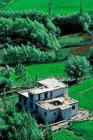 Inde - Province du Jammu Cachemire -  Ladakh - Maison dans la vallée de Leh