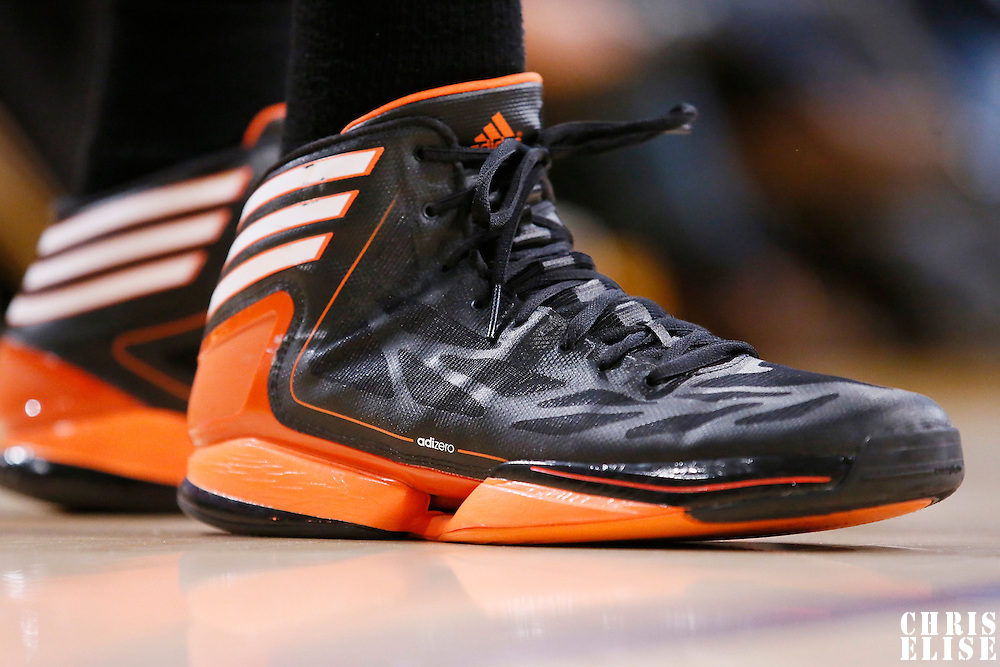 09 March 2014: Close view of Oklahoma City Thunder small forward Perry Jones (3) Adidas shoes during the Los Angeles Lakers 114-110 victory over the Oklahoma City Thunder at the Staples Center, Los Angeles, California, USA.