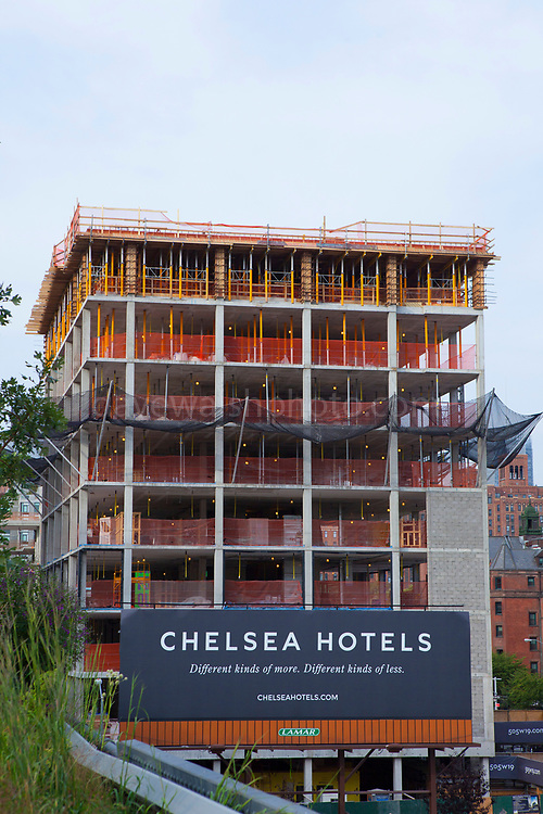 View of new Chelsea Hote from the High Line. TheHigh Lineis a 2.33kmelevatedlinear park,greenwayandrail trailfollowing the path ofrailway onManhattan's West Side in New York City.