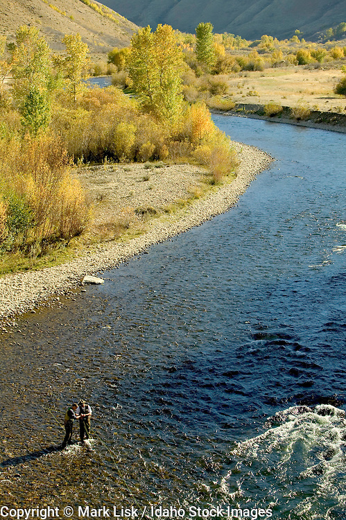 (MR) Fall colors line the banks one of Idaho's famous fly fishing rivers, the South Fork of the Boise River.