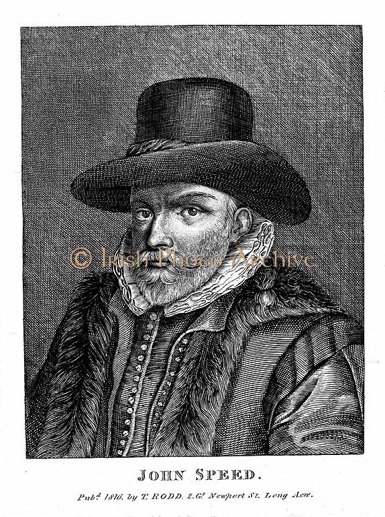 John Speed (1542-1629) English cartographer and historian. Engraving