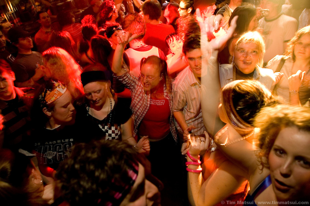 Dancing on 80's night at Tommy Africa's, a nightclub at Whistler-Blackcomb ski resort in British Columbia, Canada.