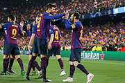 GOAL - Barcelona forward Lionel Messi  (10) celebrates with Barcelona defender Gerard Pique  (3) 1-0 during the Champions League quarter-final leg 2 of 2 match between Barcelona and Manchester United at Camp Nou, Barcelona, Spain on 16 April 2019.